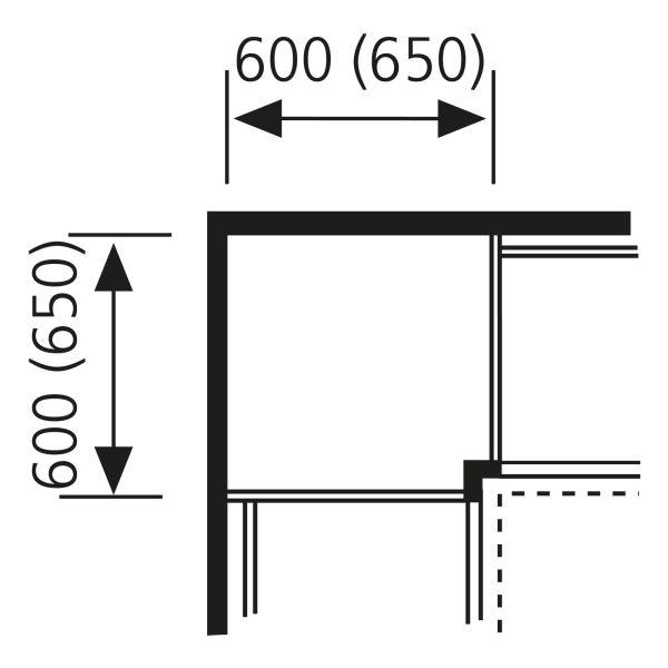 Eck-Passstück, frontbezogen SPE65-135