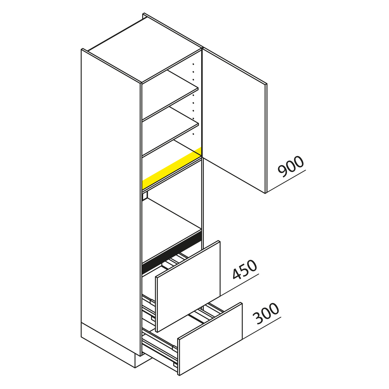 nolte k chen hochschrank ger teschrank gbaz225 3. Black Bedroom Furniture Sets. Home Design Ideas