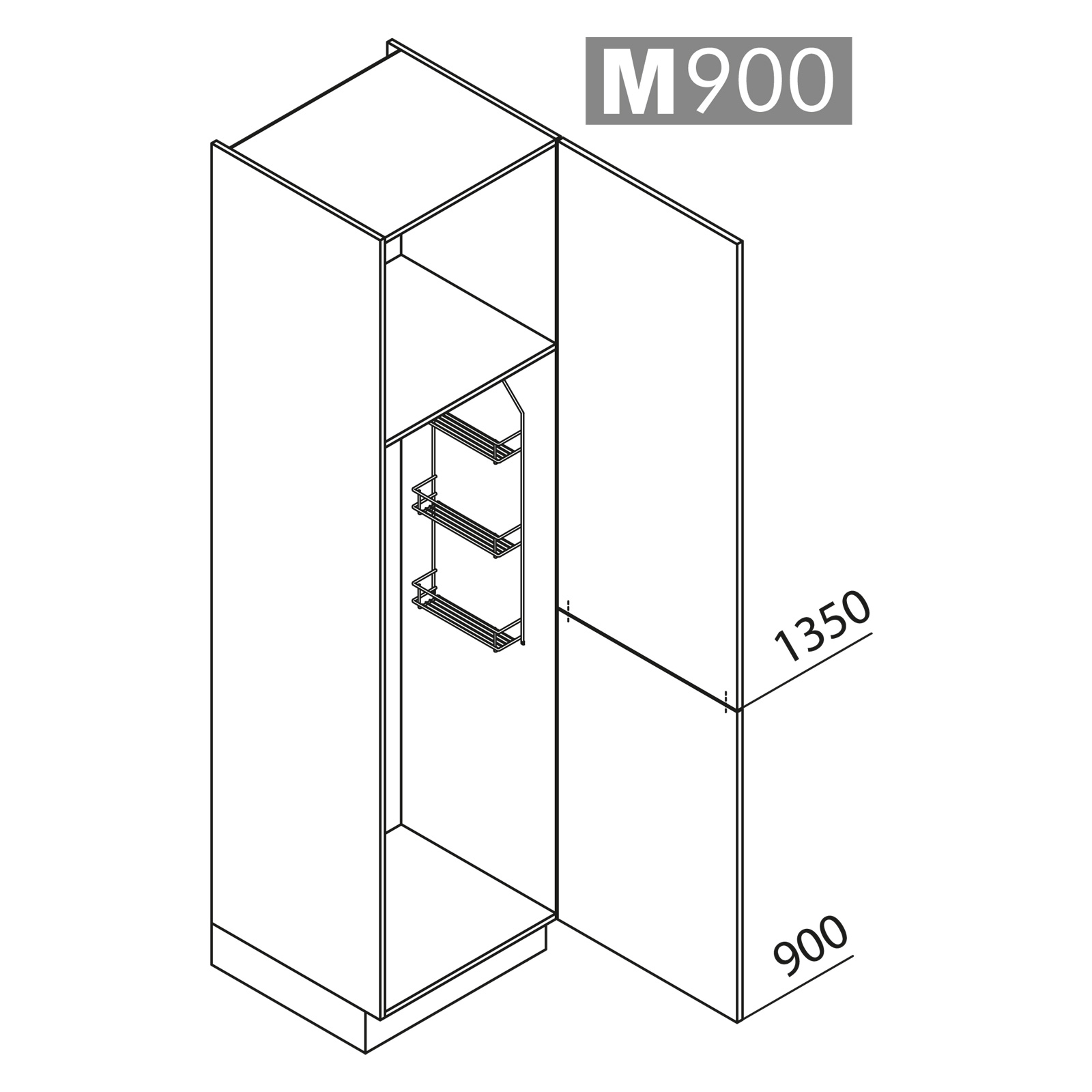 nolte k chen hochschrank besenschrank vb60 225 u9. Black Bedroom Furniture Sets. Home Design Ideas