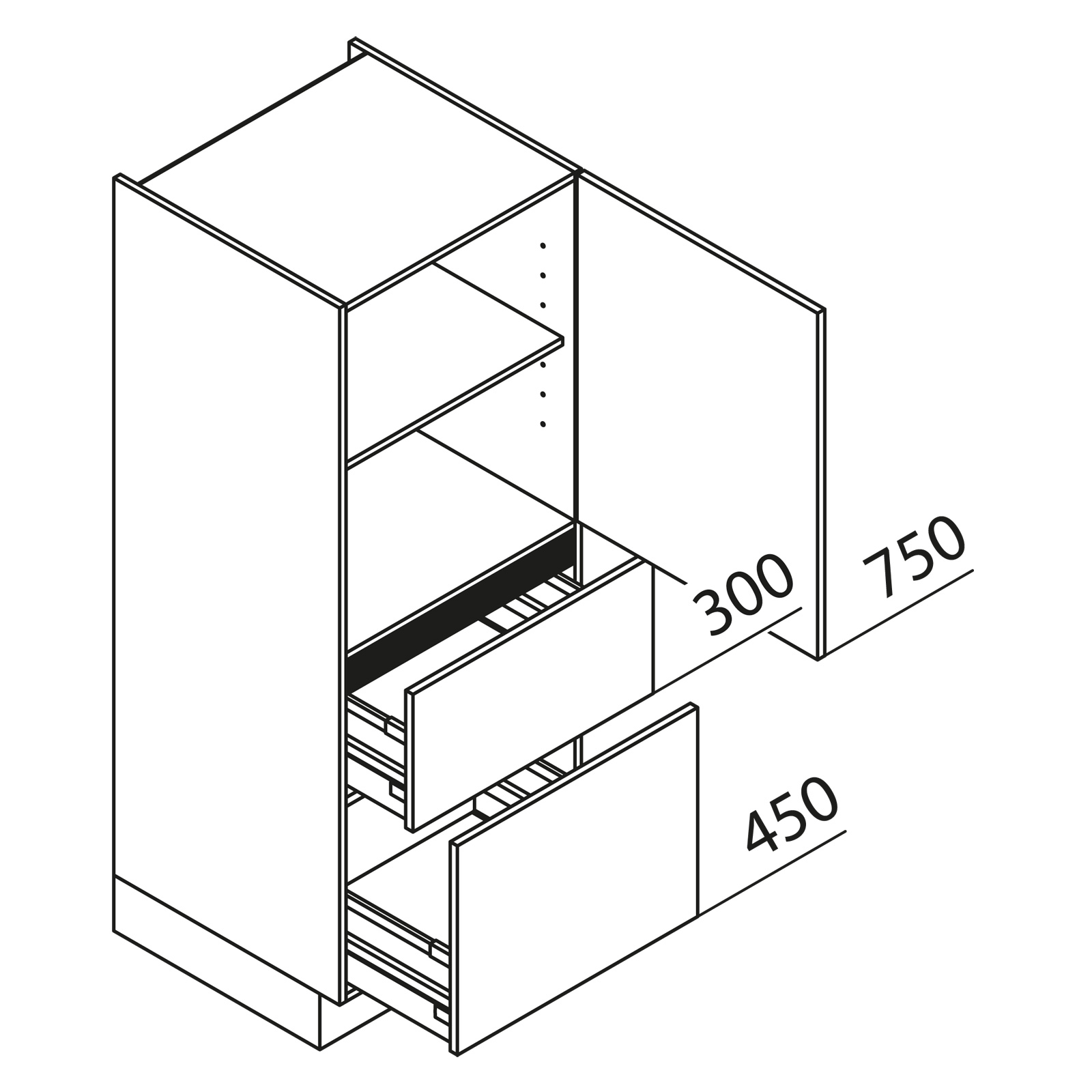 nolte k chen hochschrank va60 150. Black Bedroom Furniture Sets. Home Design Ideas